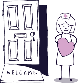 Nurse welcoming with heart